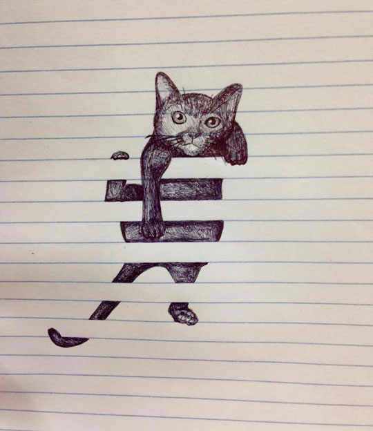 cool-cat-drawing-notebook-stripes