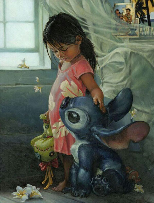 realistic-painting-Lilo-Stitch