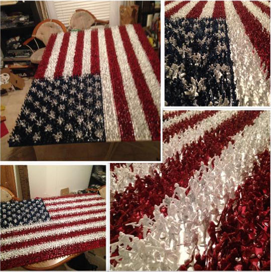 American Flag Made Out Of Over 4,000 Spray Painted Toy Soldiers