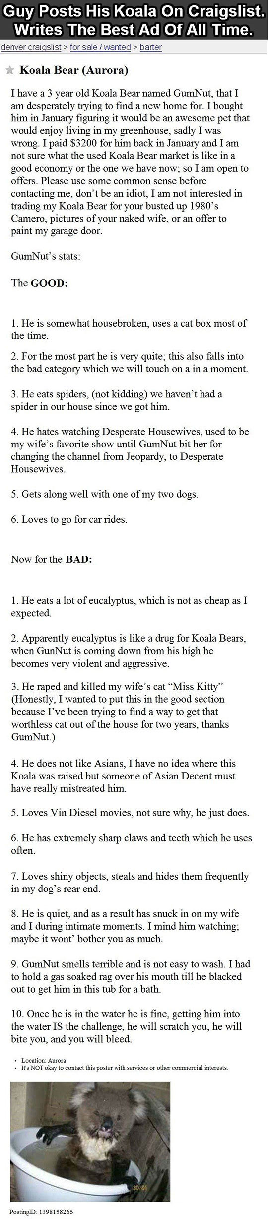 Quite Possibly The Best Craigslist Ad Of All Time