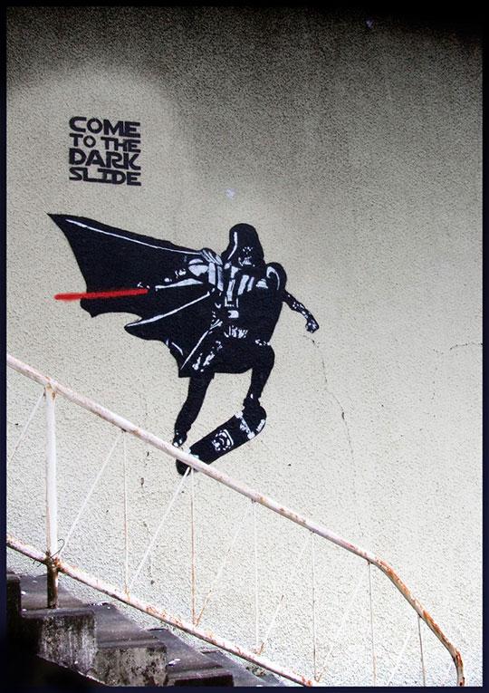 cool-Darth-Vader-slide-skateboard-graffiti