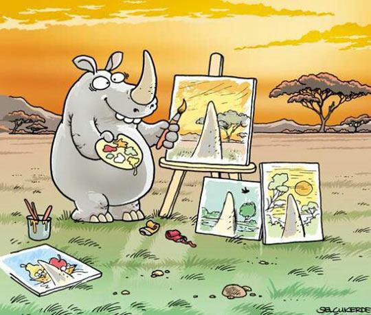 cool-rhinoceros-painting-landscape-horn