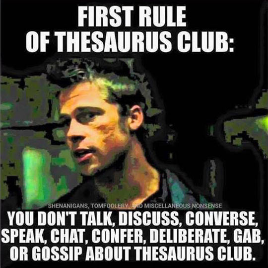 Rules Of Thesaurus Club