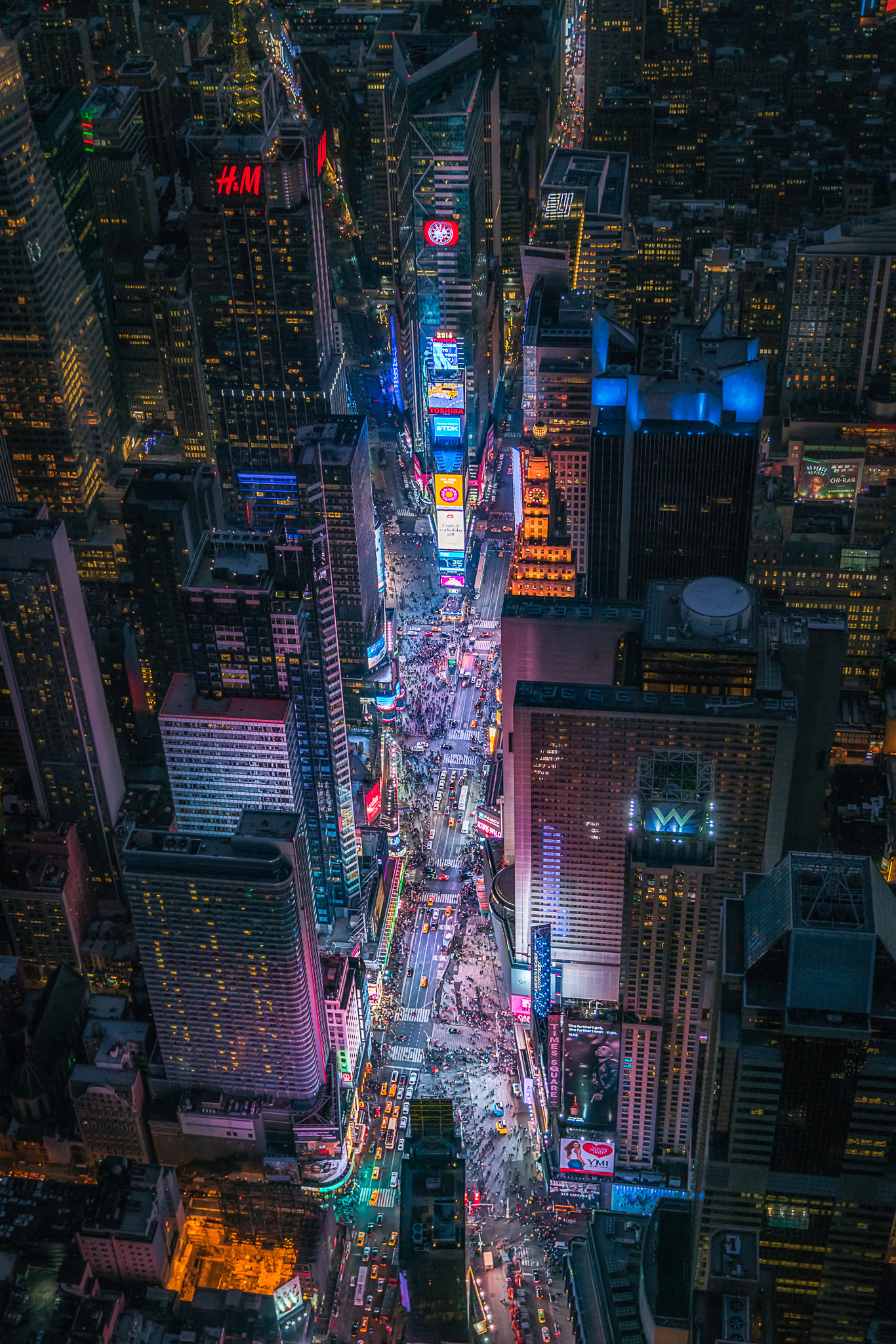 An aerial shot of Times Square
