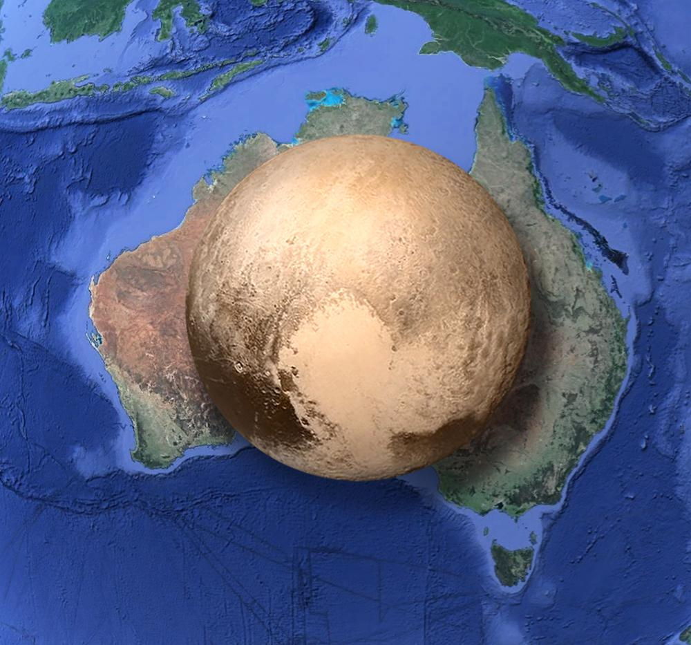 The size of Pluto compared to Australia