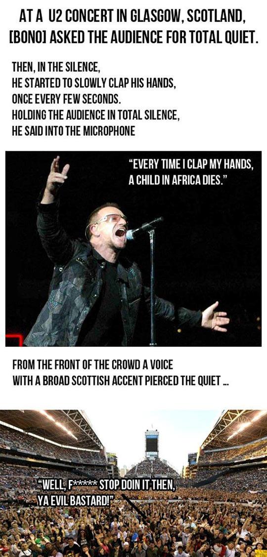 cool-Bono-U2-concert-Scotland-clap