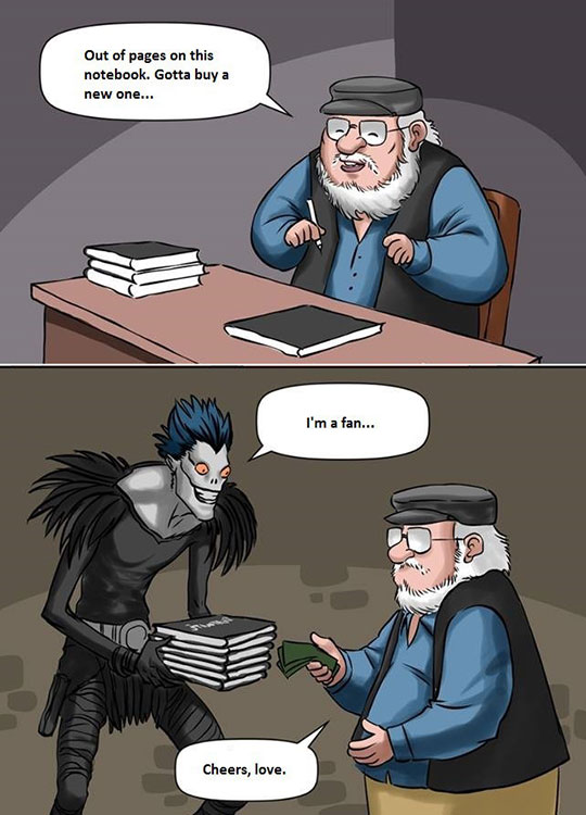 George R. R. Martin Buying His Notebooks