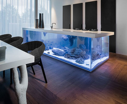 Kitchen Island With An Aquarium Inside It