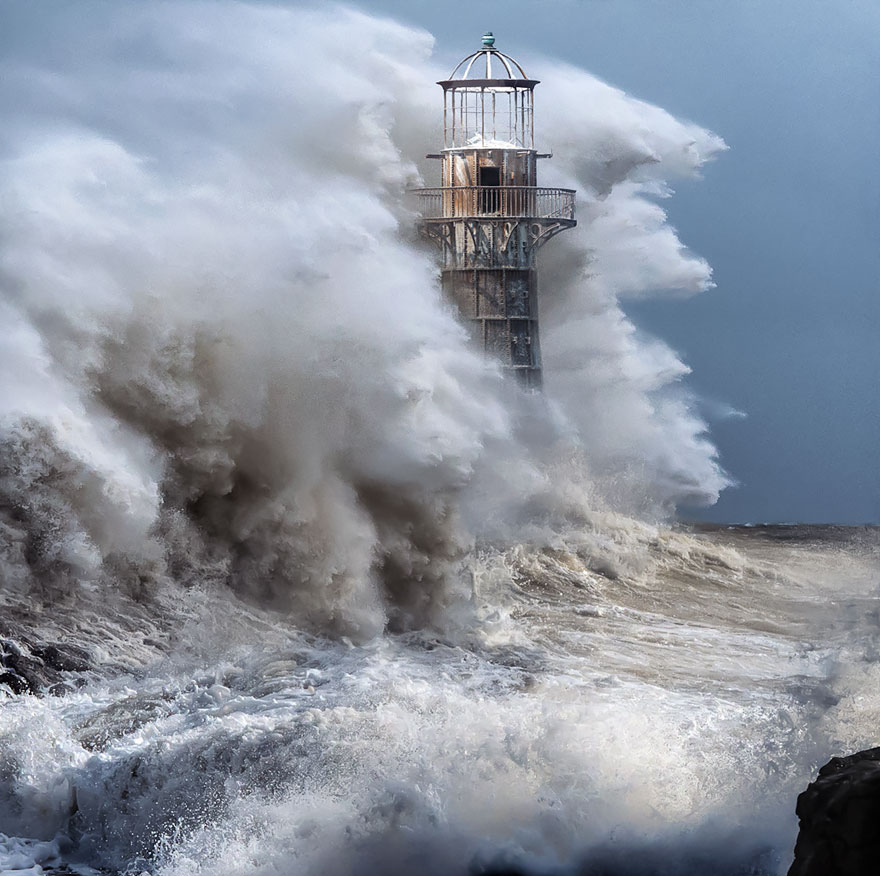 Lighthouse weathering the storm