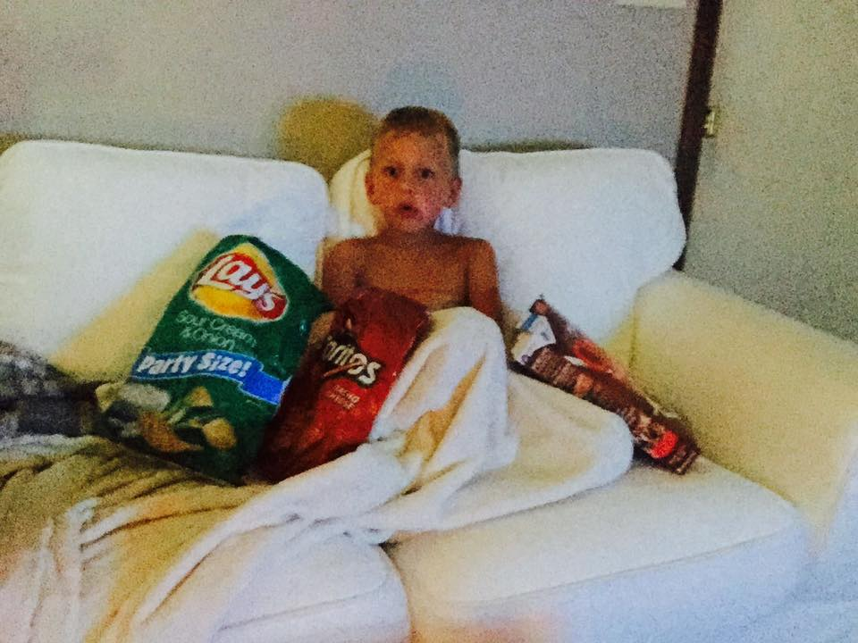 Caught my son watching cartoons at 3AM. He didn't expect to be found.
