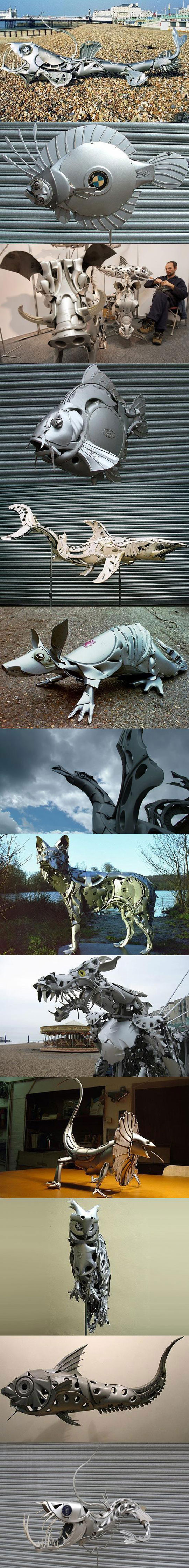 Hubcap sculptures