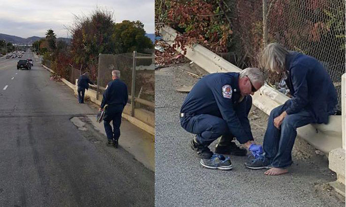 California Firefighters stop truck to give barefoot homeless man shoes