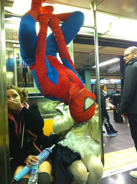 Even spiderman has to commute