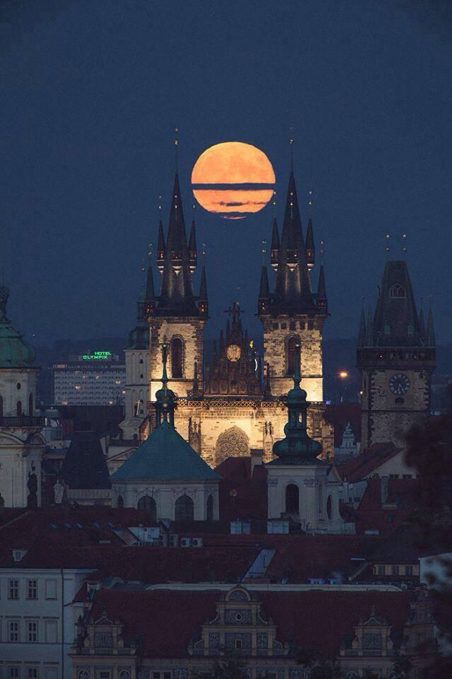 Full moon above Prague