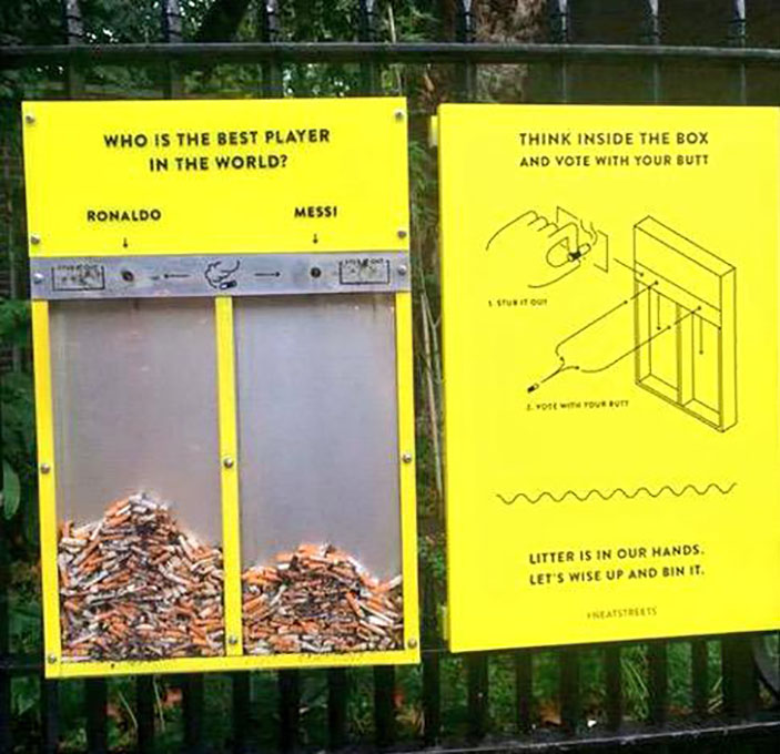 Interesting way to try to stop people from littering their cigarette butts