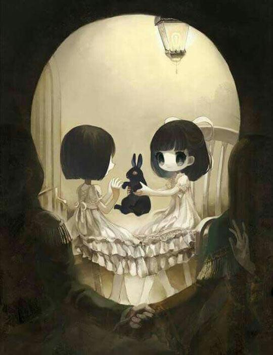 funny-girls-playing-bunny-skull