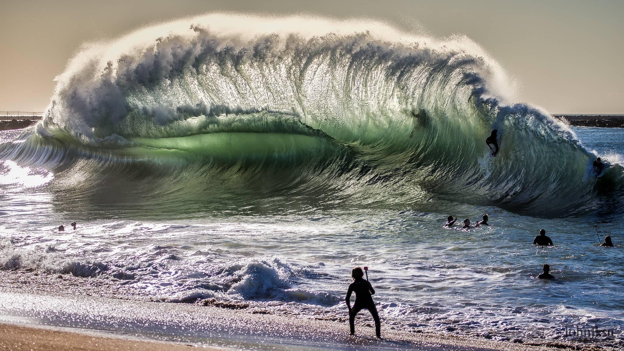 A giant backwash wave