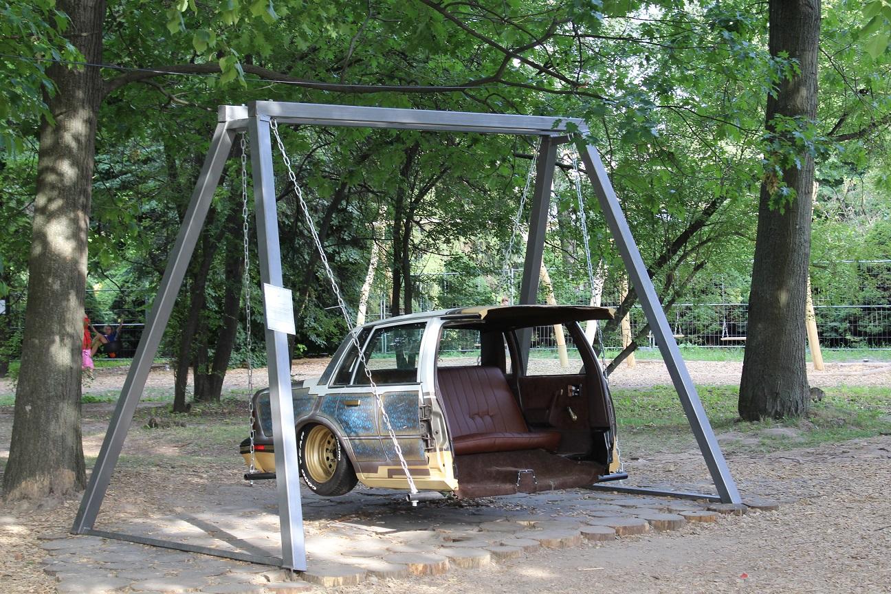 A swing for children in Ukraine