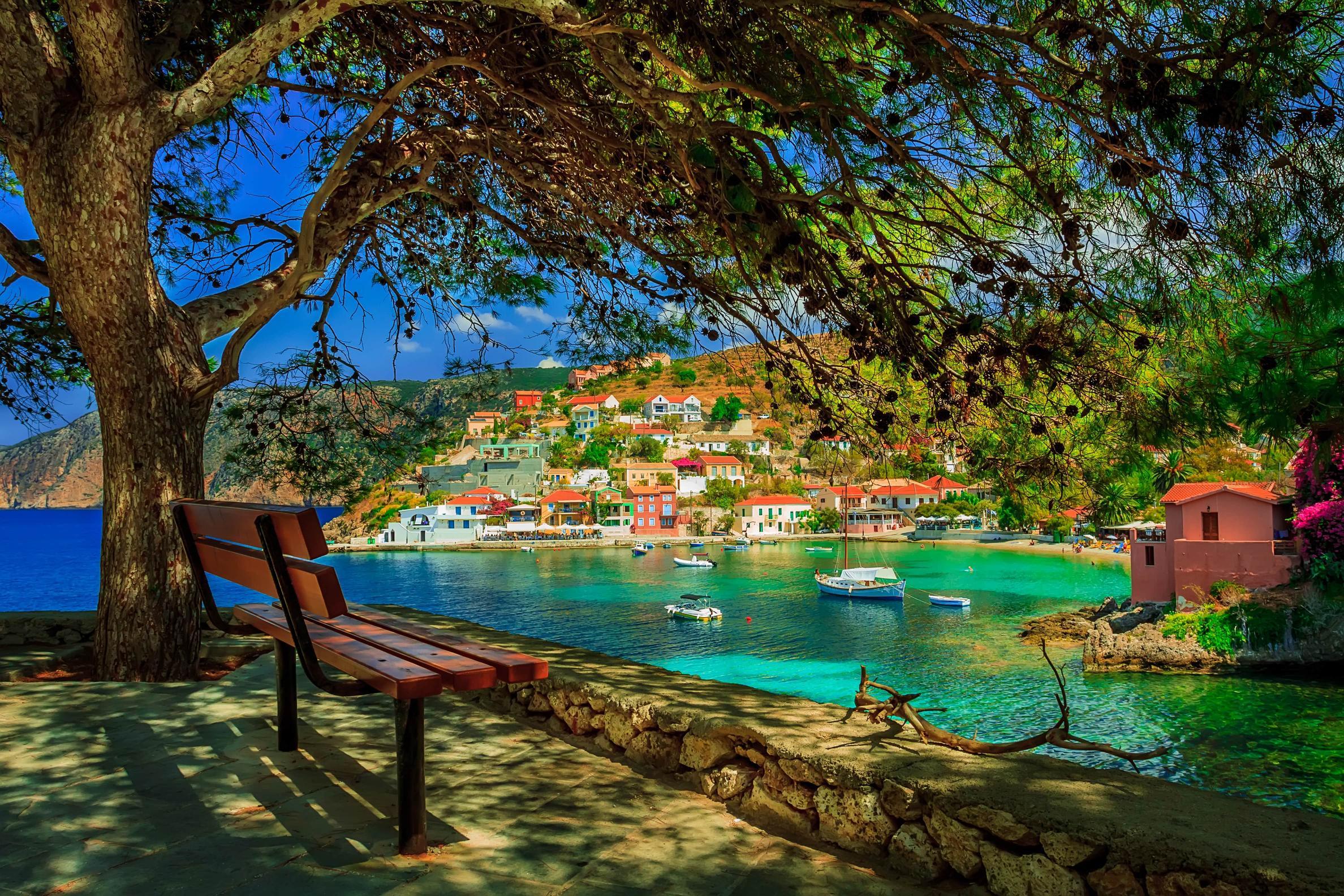 A village in Cephalonia, Greece