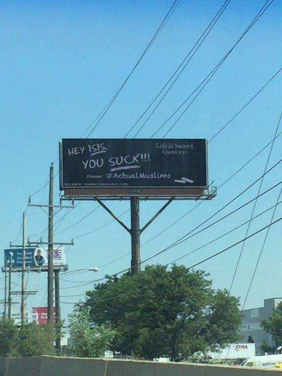 Billboard against ISIS, by Muslims