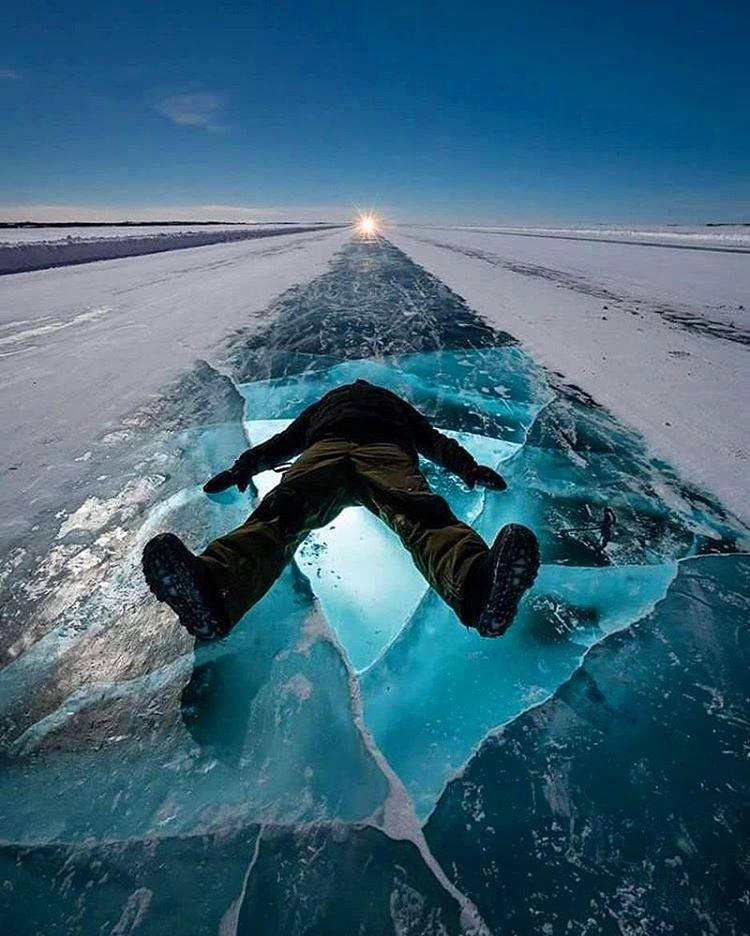 Dettah Ice Road, Yellowknife, Canada.