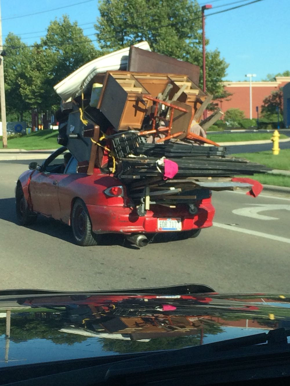 Extremely Overloaded car I saw on the way home from work