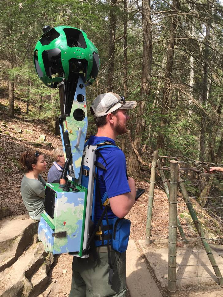 Google maps is mapping hiking trails now. The pack weighs 50lbs