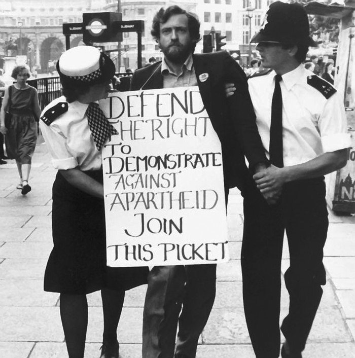 Jeremy Corbyn arrested after protesting against Apartheid regime outside the South African Embassy in 1984.