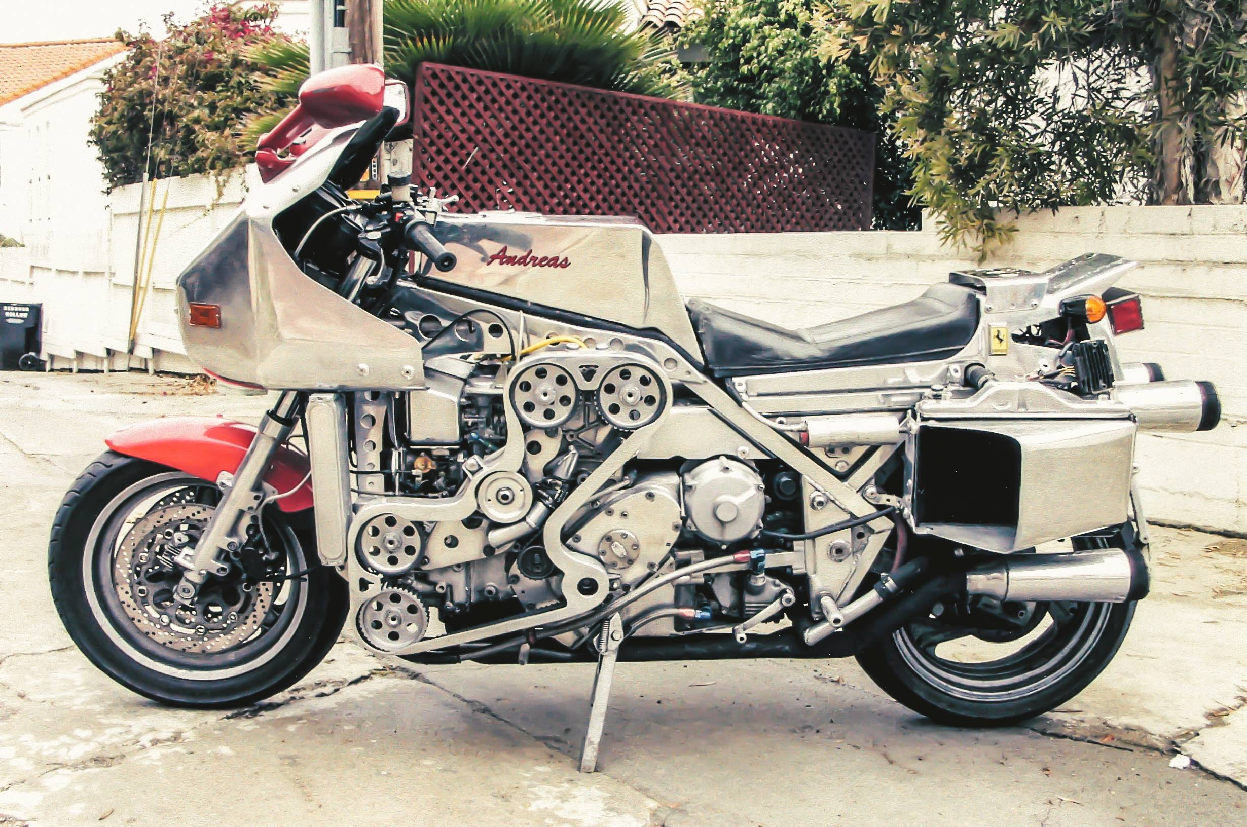 Modified custom motorcycle with a Ferrari F136