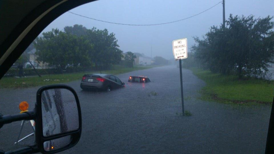 People driving into a canal thinking it was a street from the floods in Florida.