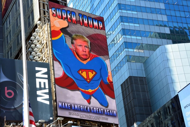A new digital billboard in Times Square was put up this morning