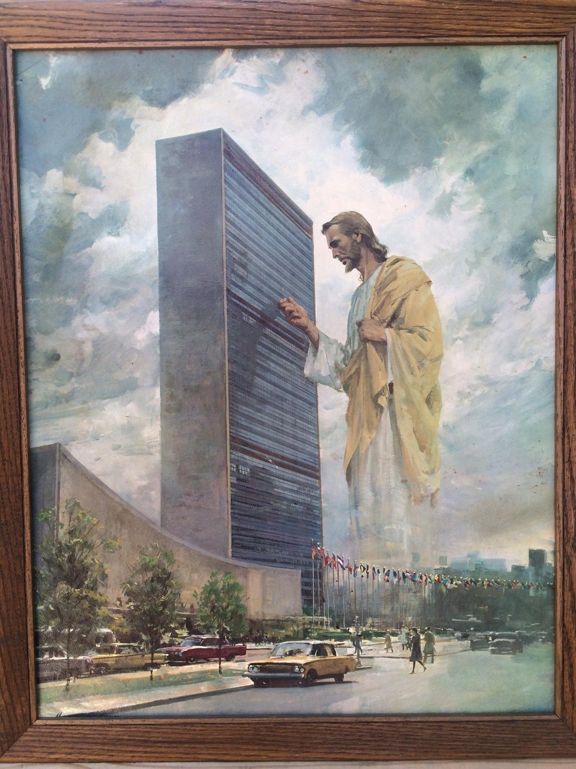 Garage sale find- Jesus at the United Nations building