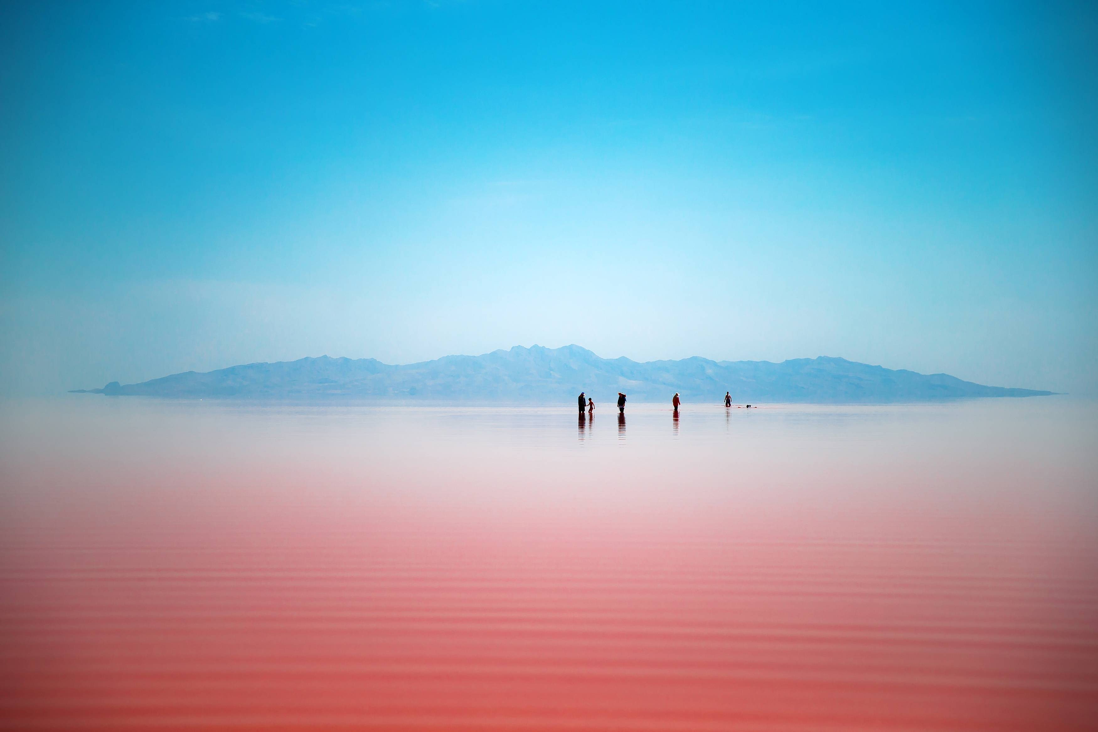 Iranians enjoying the Urmia salt lake after a rain.