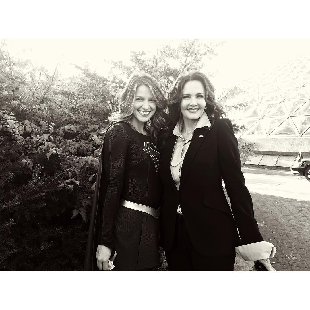 Melissa Benoist and Lynda Carter