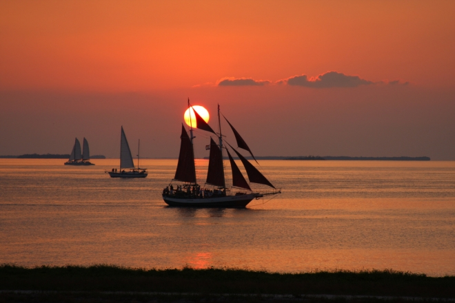 Sailboats Off Fort Zachary Taylor State Park Florida