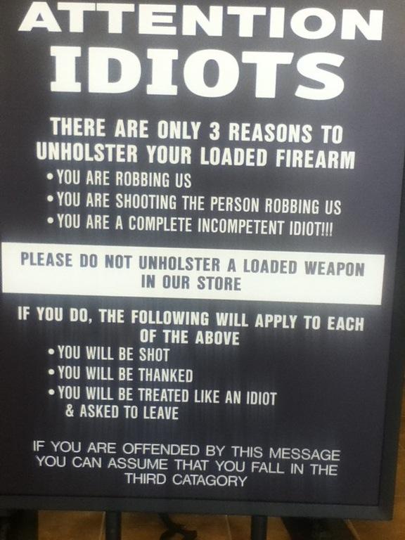Sign at a gun store.