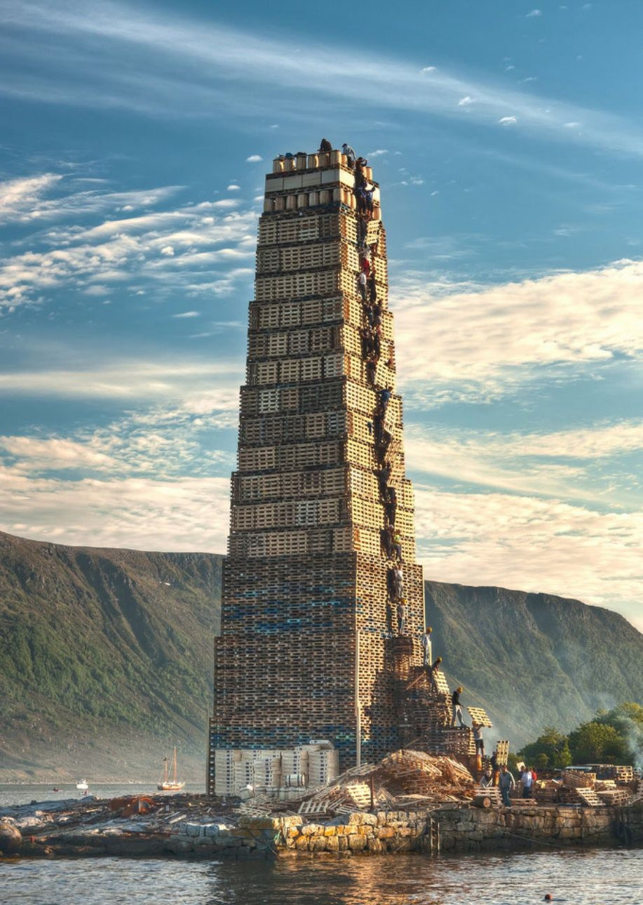 Stacking Palettes For The Worlds Biggest Bonfire In Norway
