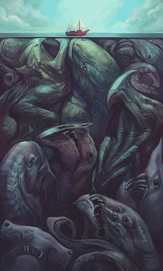 cool-drawing-sea-monsters-under-water