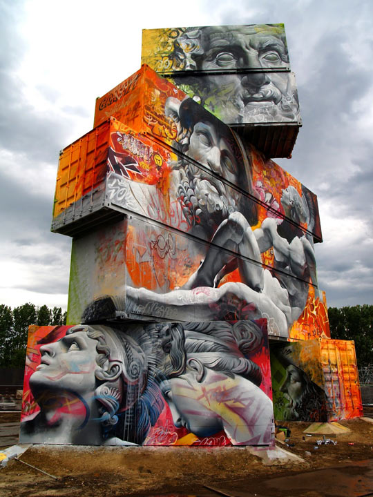 Awesome Graffiti Of Greek Gods On Containers