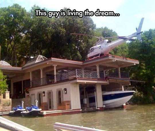 cool-house-river-helicopter-boat-water-motorbike