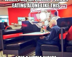Elderly People Eating Alone