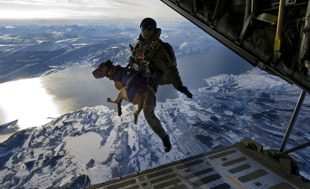 An Austrian Jagdkommando and his explosive sniffing dog leaving an airplane from 5,000 metres