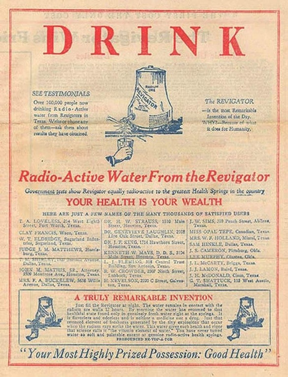 An old advertisement for radioactive water