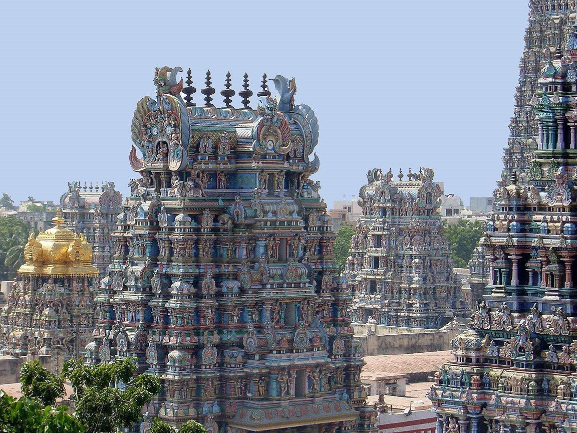 Beautiful carved temples in Madurai, India