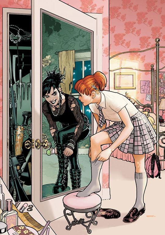 comic-school-girl-mirror-dark