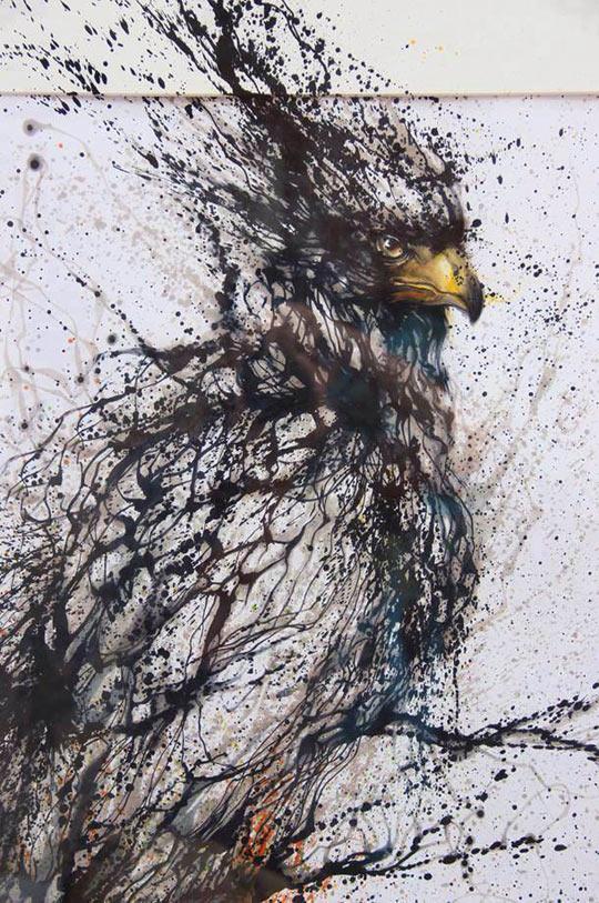 cool-bird-paint-spot-ink-drawing