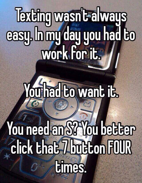 Texting Back Then