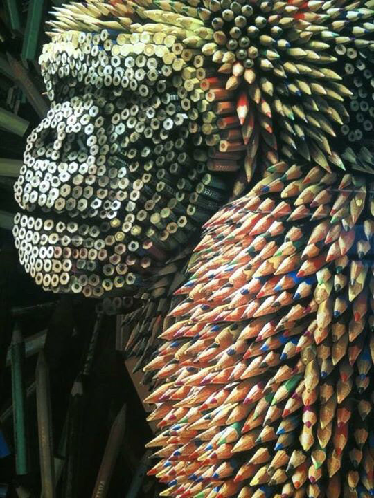 Gorilla Sculpture Made From Colored Pencils
