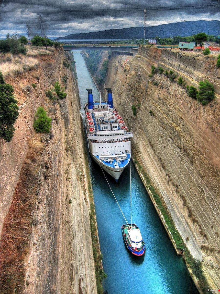 A Cruise Ship squeezing through the Corinth Canal in Greece