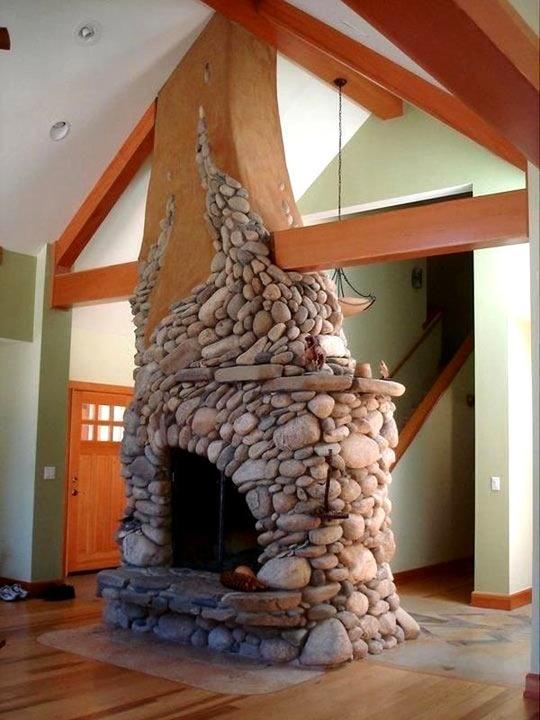 Beautiful River Rock Fireplace